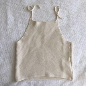 Baby soft cream off white halter crop top